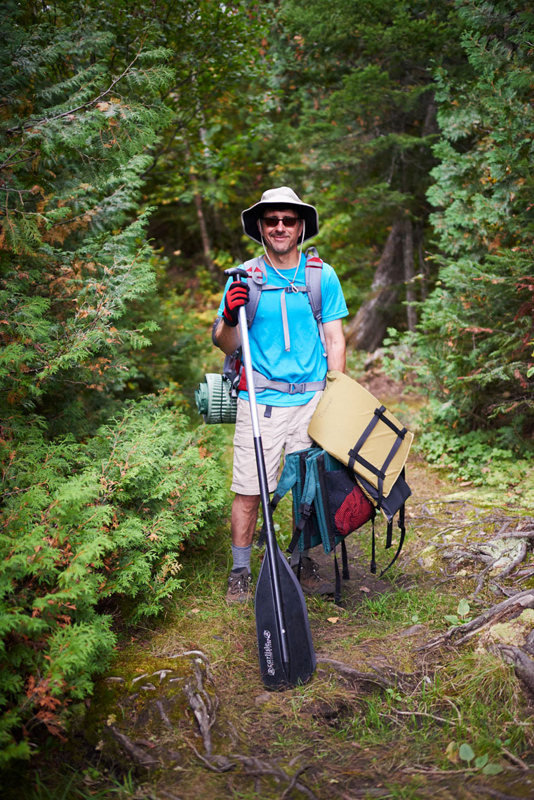 Boundary Waters conoer portaging gear portrait