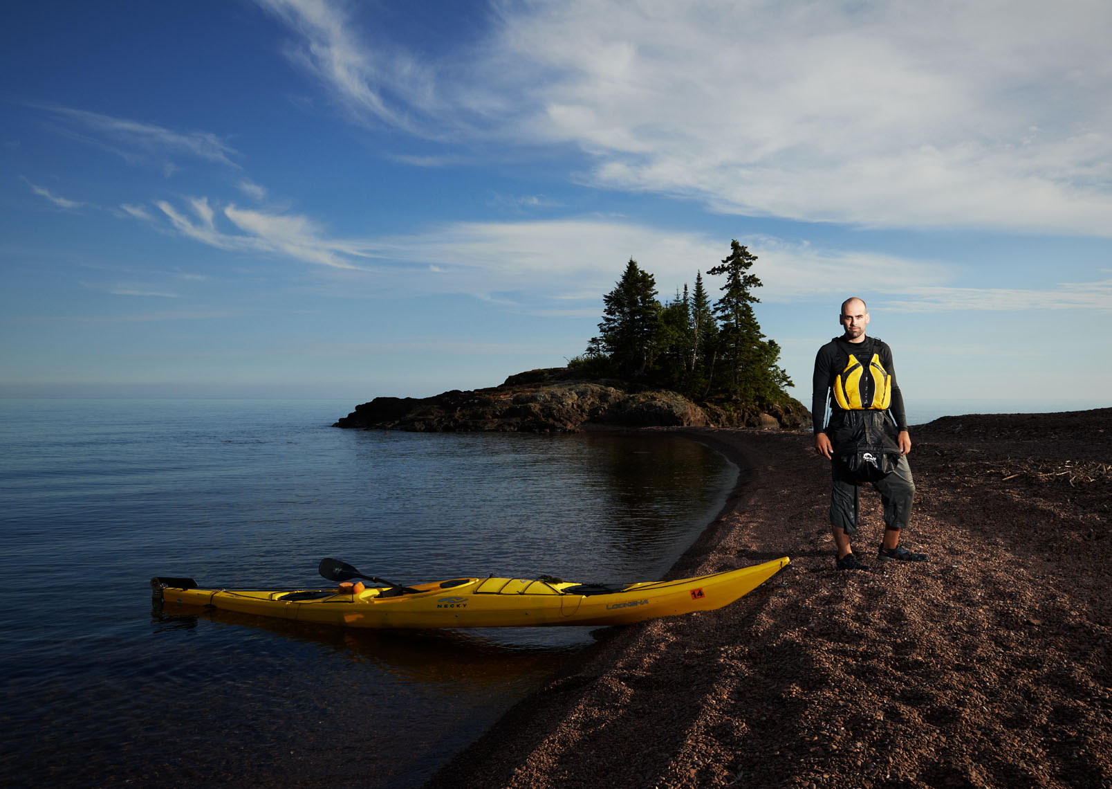 Lake Superior Kayaker North Shore portrait