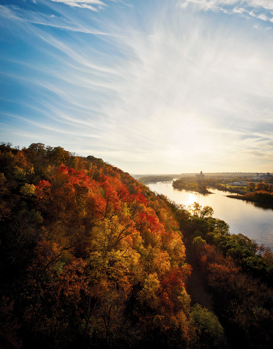 Mississippi river bluffs in autumn landscape