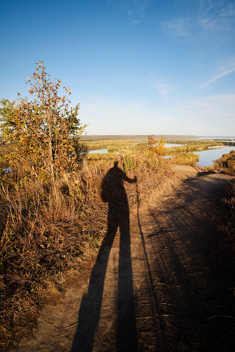 hiker shadow over Mississippi River lifestyle