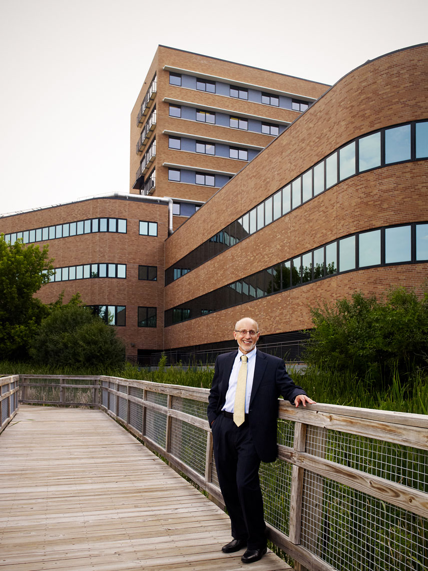 Dr. David Abelson in front of Park Nicollet Hospital
