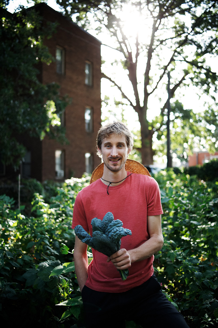 Urban chef gathers ingredients from garden agriculture