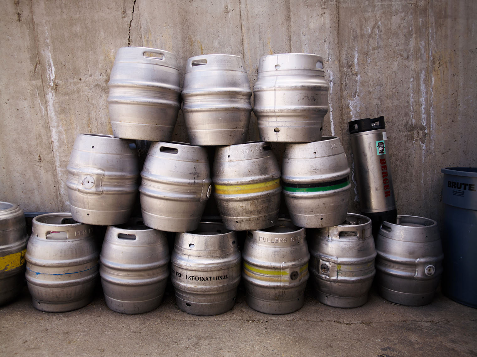 Kegs of beer outside brewery industrial