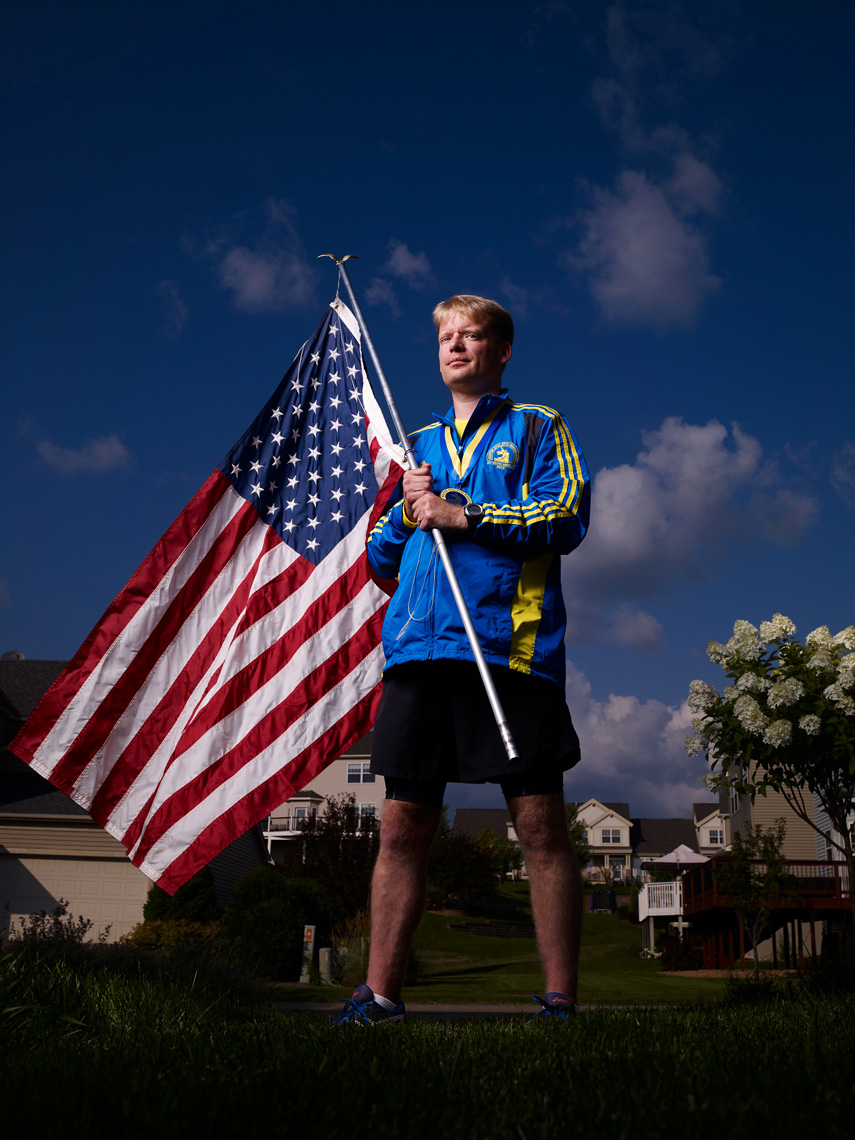 Boston Marathon Bombing Survivor with flag portrait