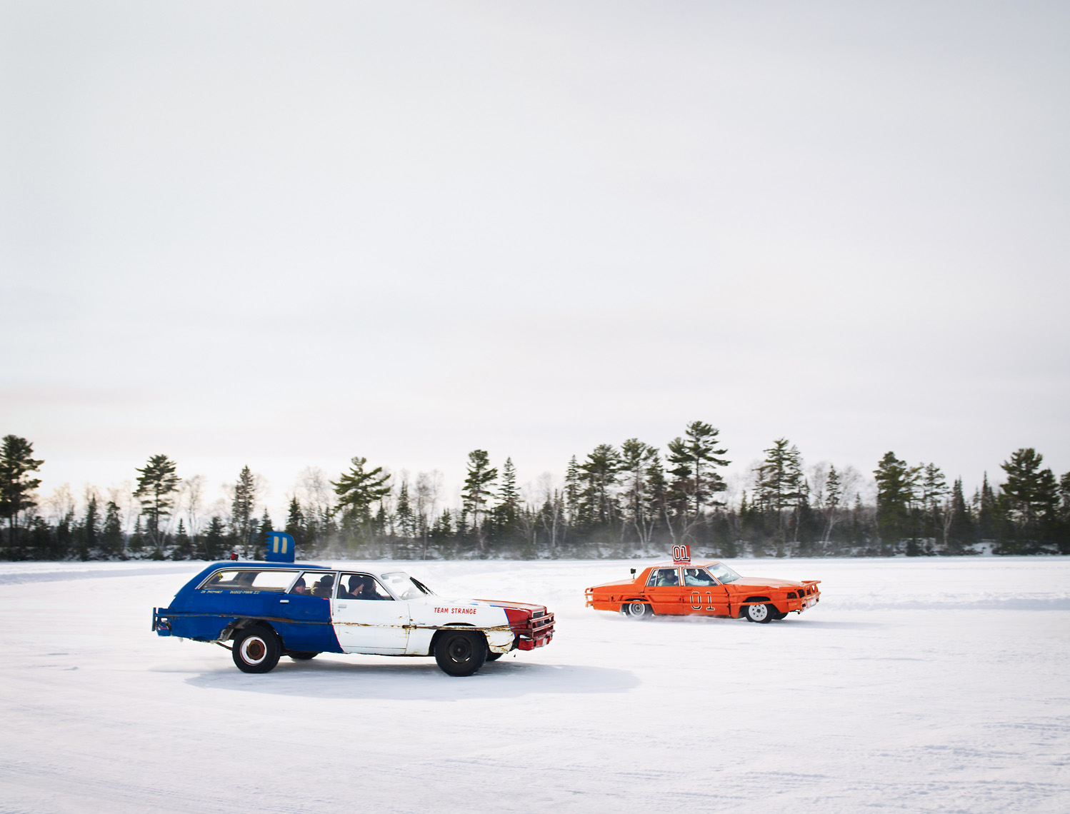 Ice racers with family in car for added weight lifestyle